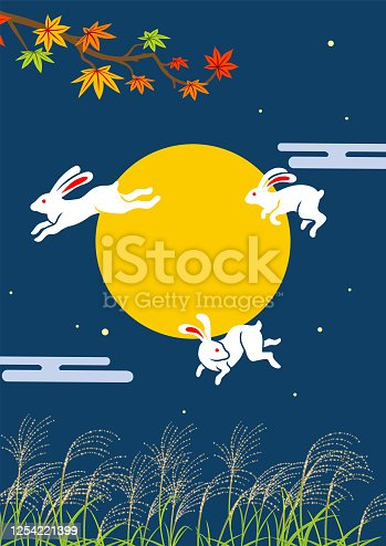 istock Three leaping rabbits in autumn nature - Japanese traditional harvest moon image 1254221399
