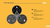 Three letters process chart slide template. Business data. Graph, diagram. Creative concept for infographic, presentation. For topics like quality strategy, economics.