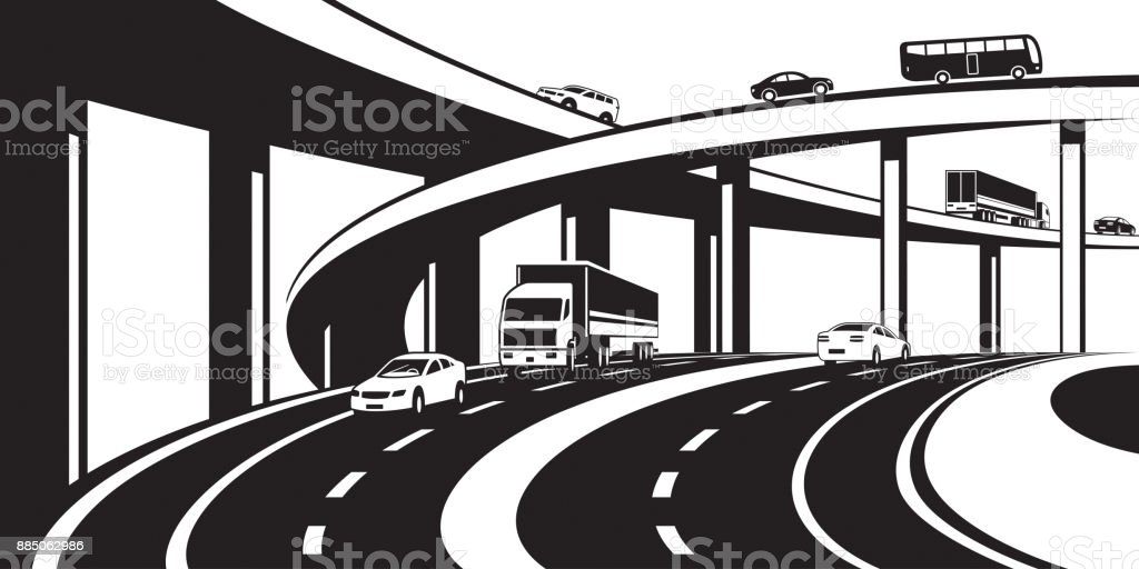 Three level interchange on highway vector art illustration