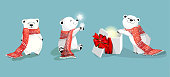 Three little cute polar bears with red scafs in different poses. Christmas and New-year theme.Vector cartoon characters.