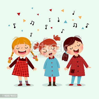 istock Three little girl singing a song on blue background. Happy three kids singing together. 1163678022