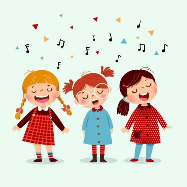 stockillustraties, clipart, cartoons en iconen met drie kleine meisje zingen een lied op blauwe achtergrond. gelukkige drie kinderen zingen samen. - zingen