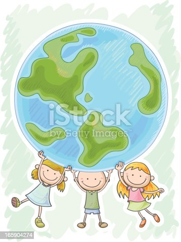 istock Three little kids are protecting the world 165904274