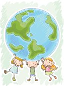 Three little kids are protecting the world, in colourful cartoon style