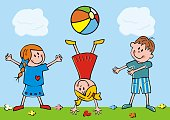 Three little kids with beach ball on meadow, humorous vector illustration