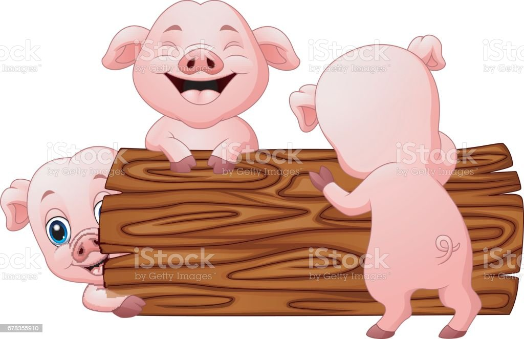 Three little pig cartoon in the log vector art illustration