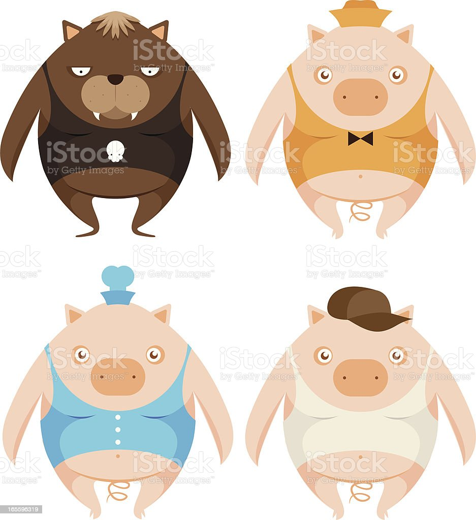 Three little pigs and big bad wolf vector art illustration