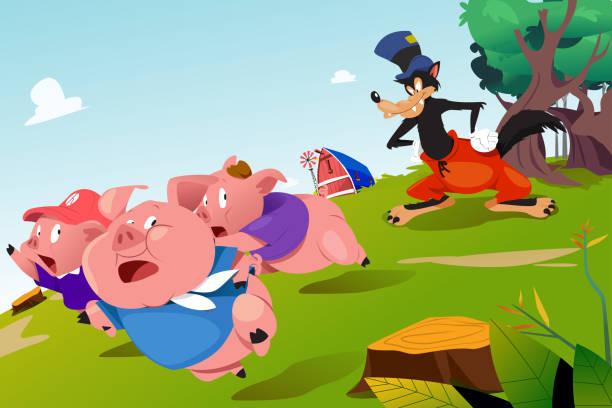 Three Little Pigs and Scary Wolf Illustration vector art illustration