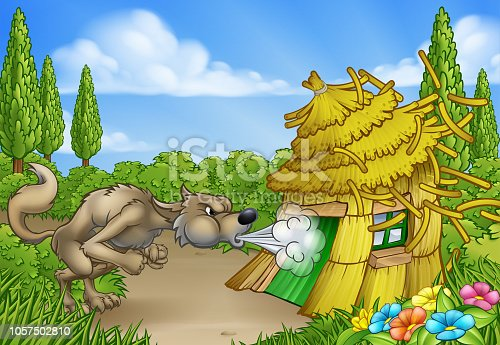 The big bad wolf from the three little pigs fairy tale blowing down the straw house