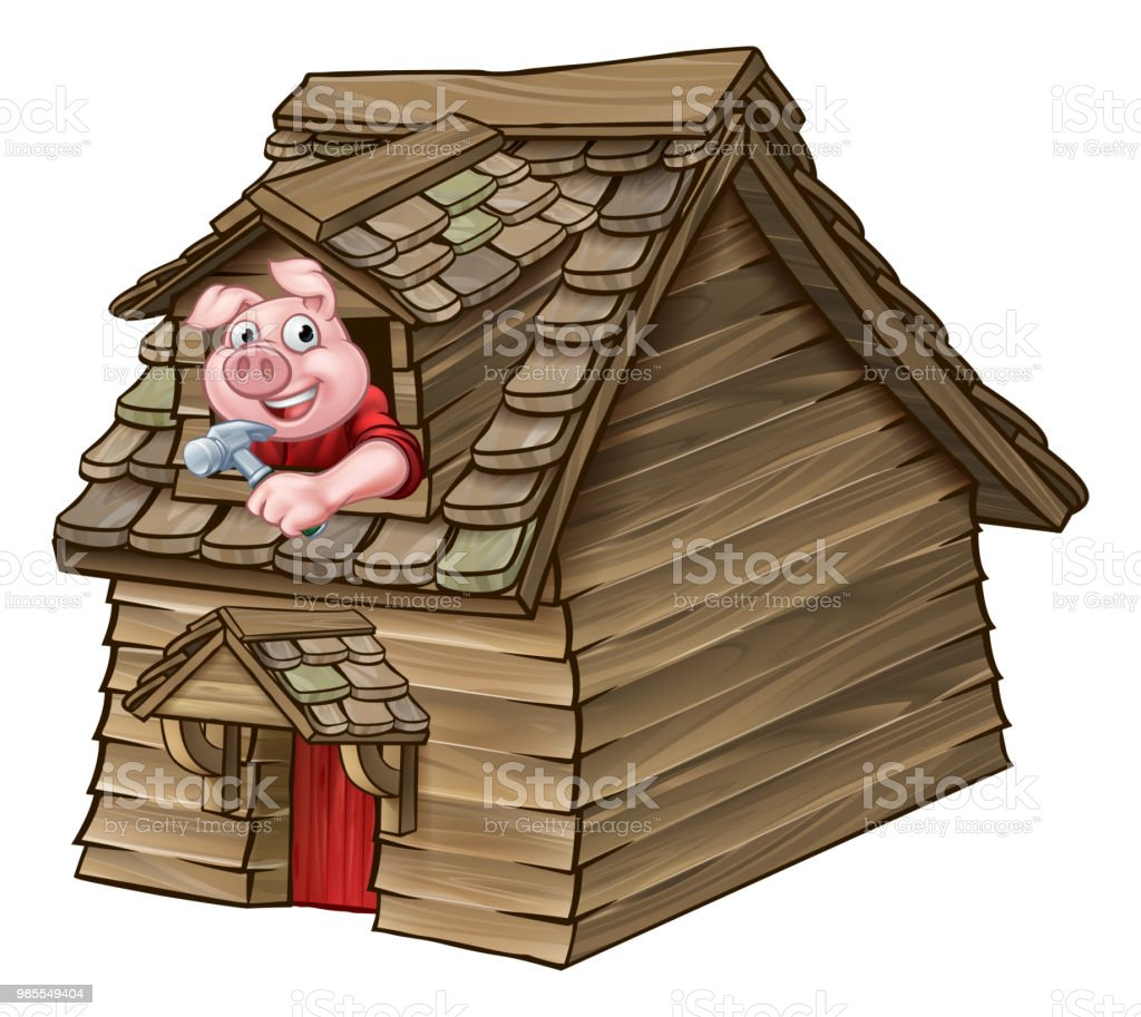 Three Little Pigs Fairy Tale Wood House vector art illustration