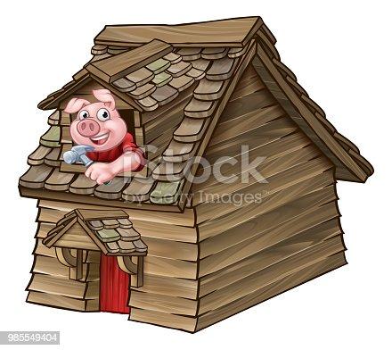 Ilustracion De Casa De Madera De Los Tres Cerditos Del Cuento De