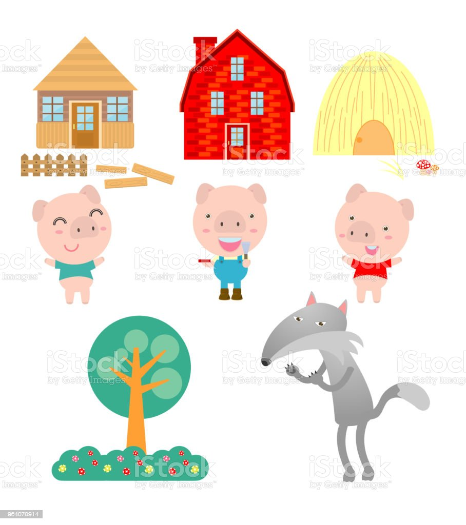 Three little pigs on white background,vector illustration - Royalty-free Animal stock vector