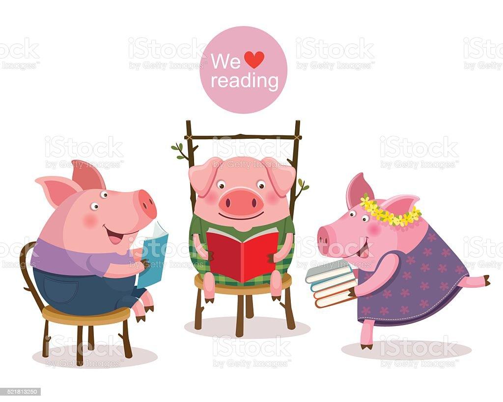 Three little pigs reading a book vector art illustration