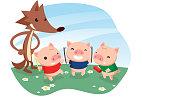 Three little pigs with cartoon wolf.