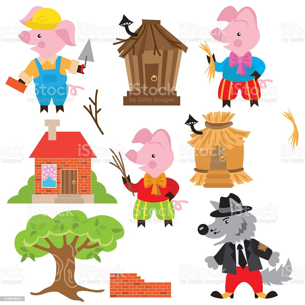 Three little pigs vector illustration vector art illustration
