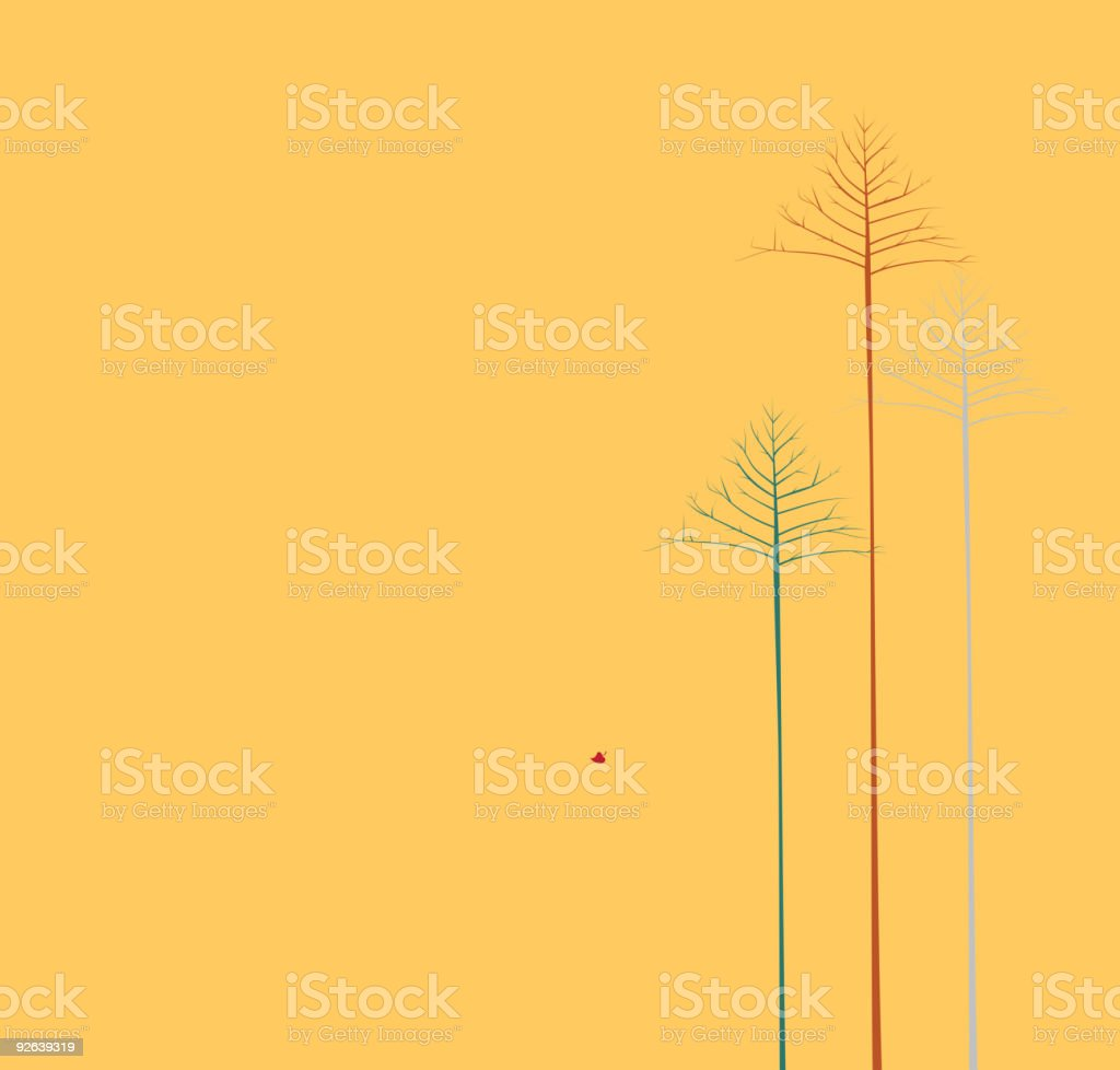 three lonely autumn trees vector art illustration