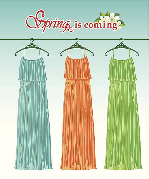 three long spring party dresses on a hanger.fashion boutique - spring fashion stock illustrations, clip art, cartoons, & icons