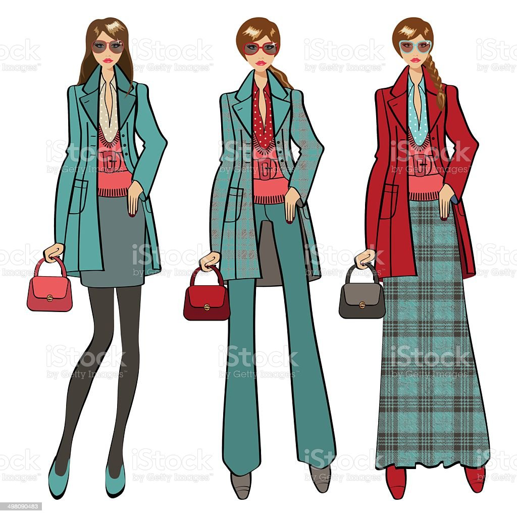 Three lovely trendy girls. Fashion Illustration royalty-free three lovely trendy girls fashion illustration stock vector art & more images of autumn
