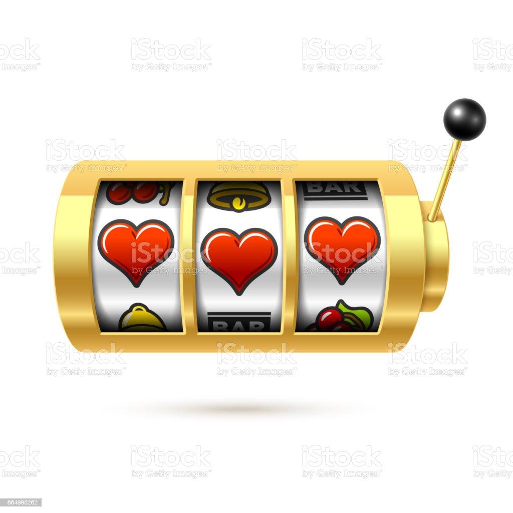 Trois chanceux coeur symboles sur un bras bandit or slot machine - Illustration vectorielle