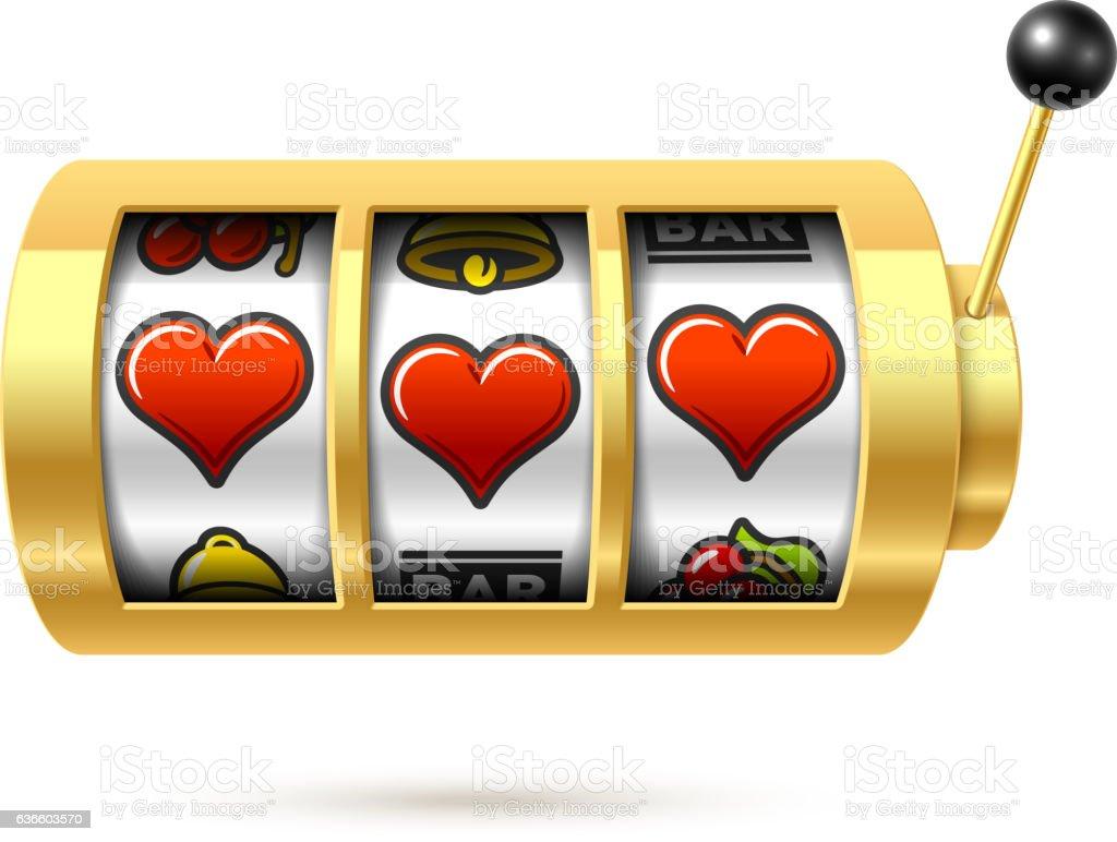 Three lucky heart symbols on slot machine - Illustration vectorielle