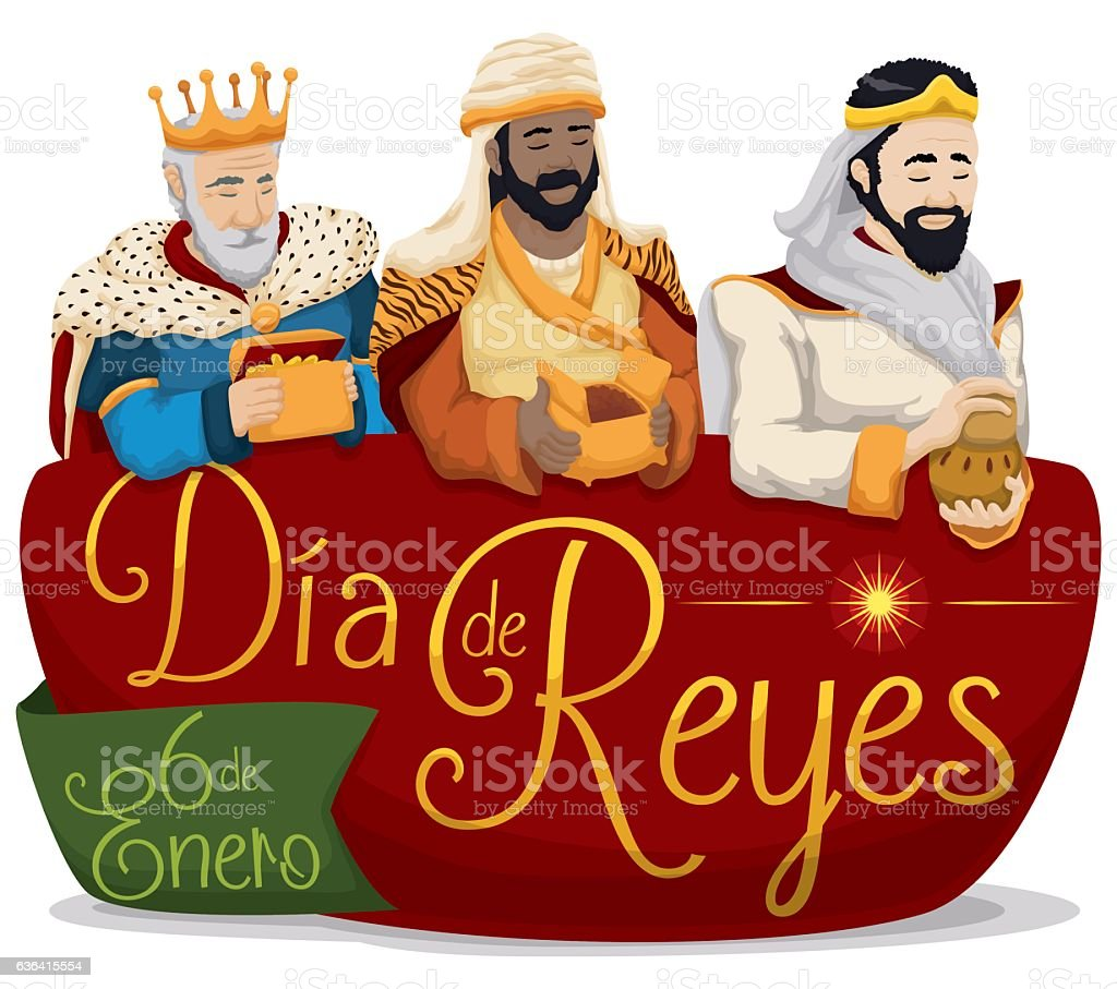 Three Magi over Sign for 'Dia de Reyes' or Epiphany vector art illustration