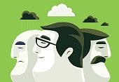 vector illustration of three man thinking differently