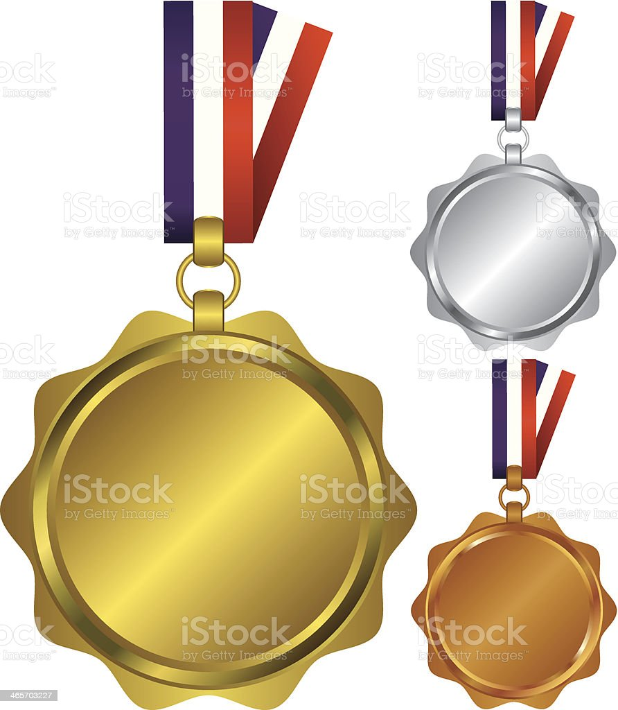 Three medals for the winners illustration royalty-free stock vector art