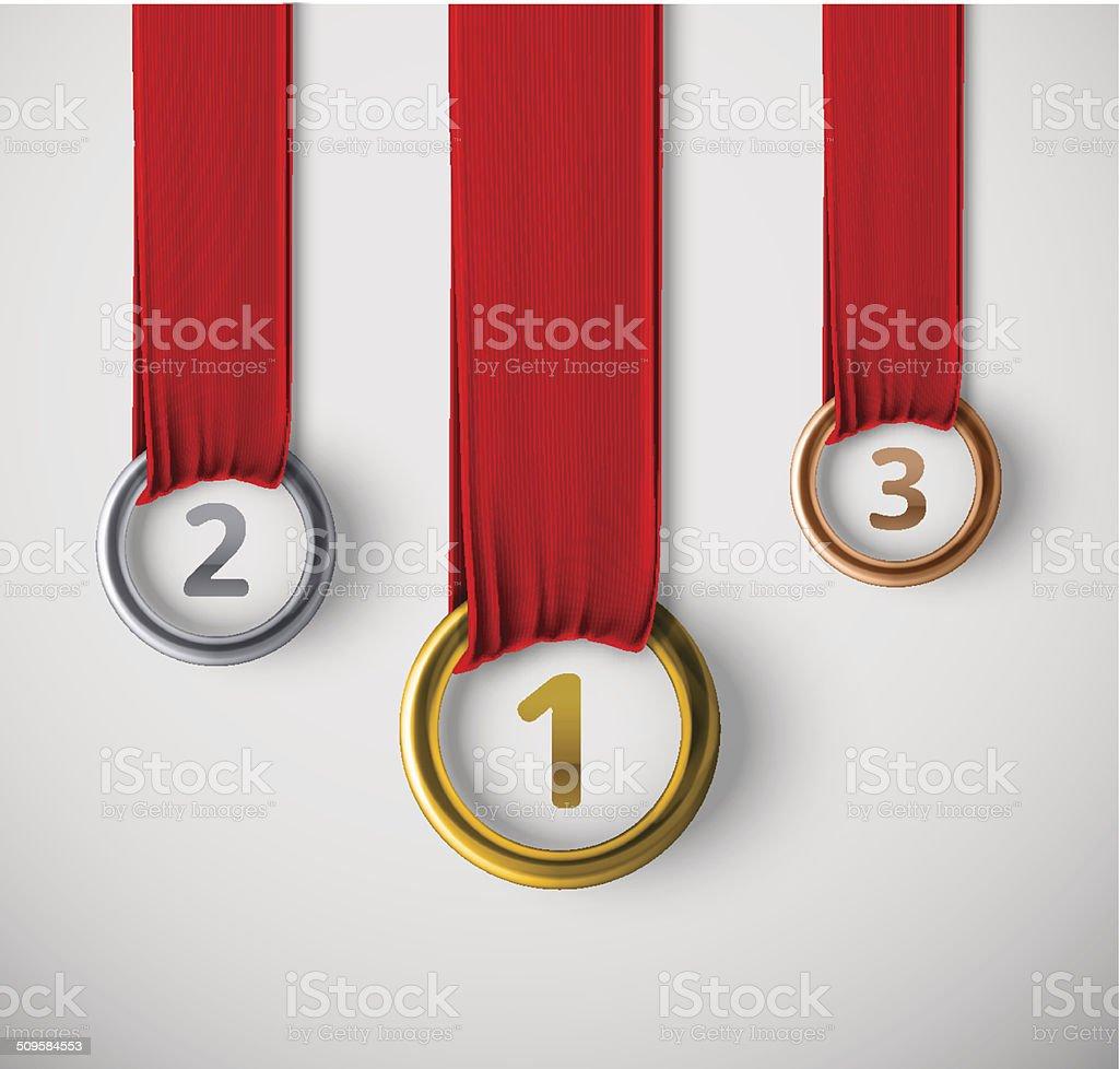 Three Medals vector art illustration