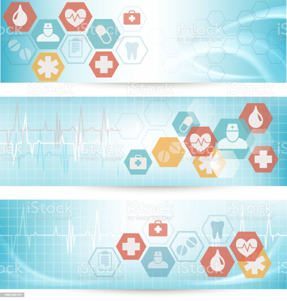 Three medical banners with icons. Vector. royalty-free stock vector art