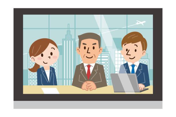 3 つの男性と女性がモニターに反映 - テレビ会議 日本人点のイラスト素材/クリップアート素材/マンガ素材/アイコン素材