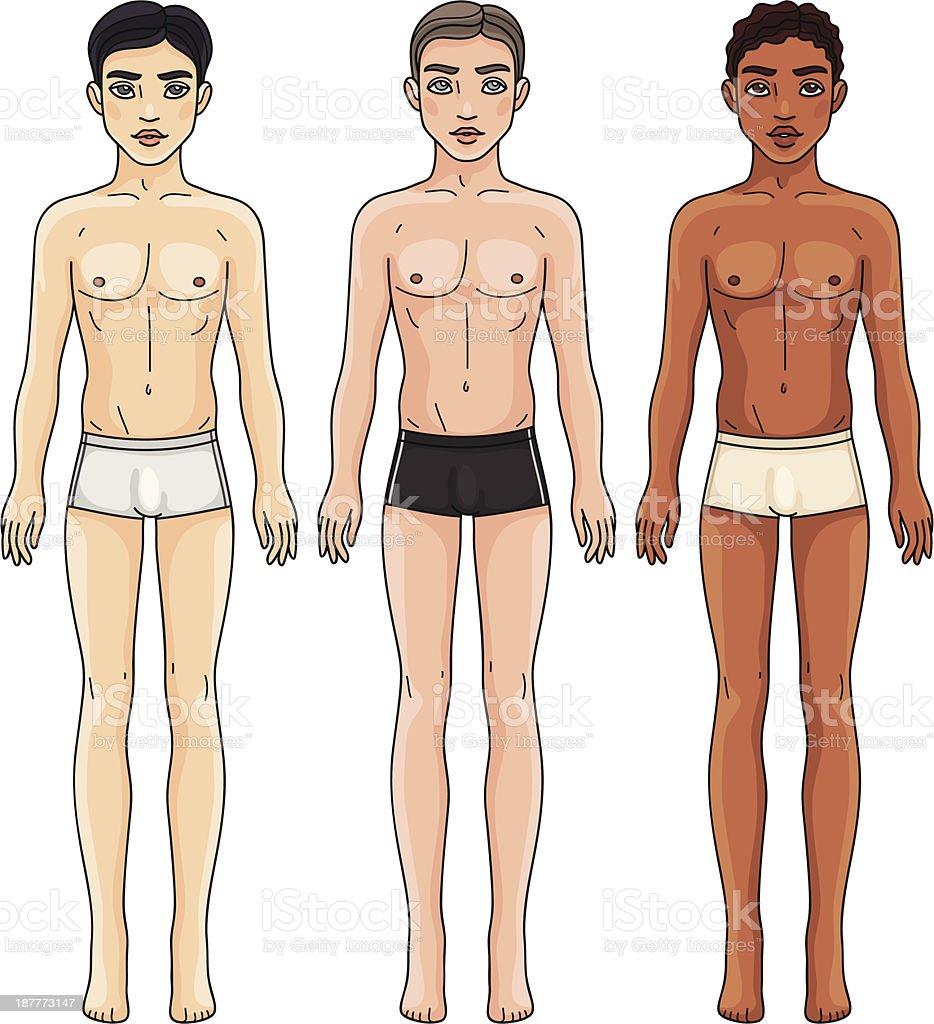 Ilustración de Tres Hombres De Diferentes Grupos étnicos En Ropa ...