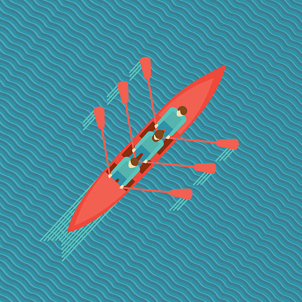 ilustrações, clipart, desenhos animados e ícones de três homens em um barco. - equipe esportiva