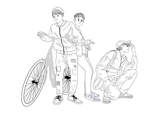 Three men standing with a bicycle vector art illustration