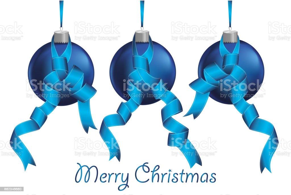 Lustige Weihnachtskugeln.Drei Lustige Blaue Weihnachtskugeln Mit Bändern Banner Mit
