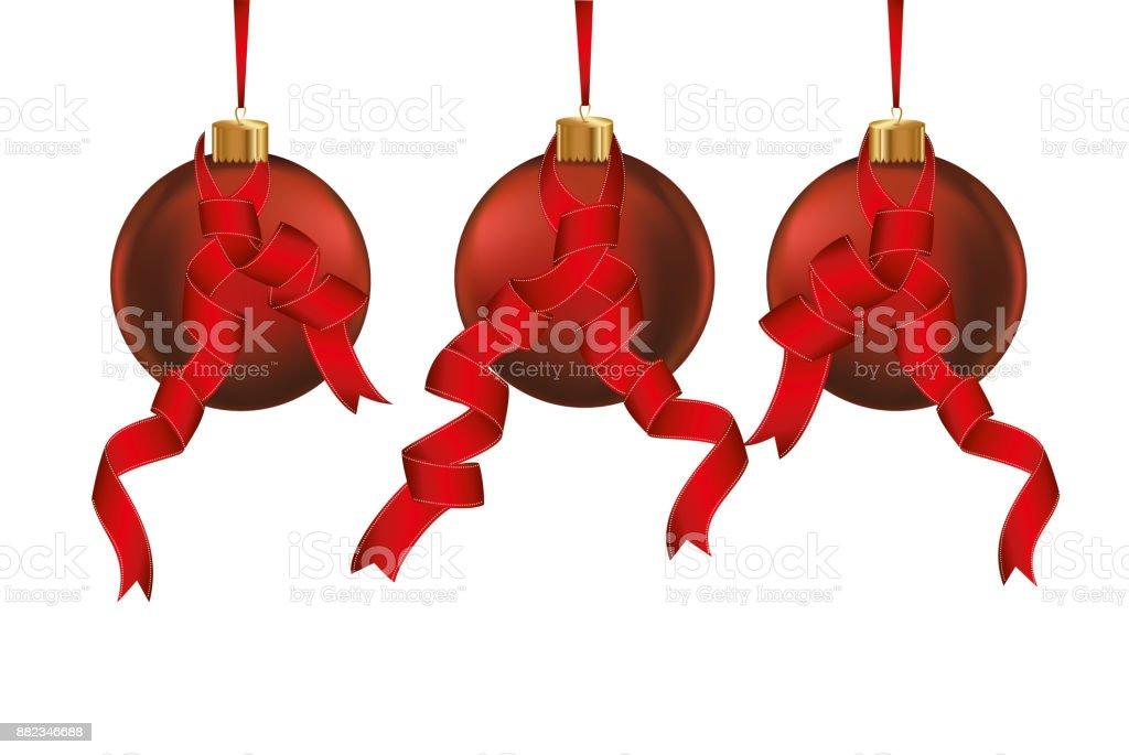 Lustige Weihnachtskugeln.Drei Lustige Rote Weihnachtskugeln Mit Bändern Banner Mit