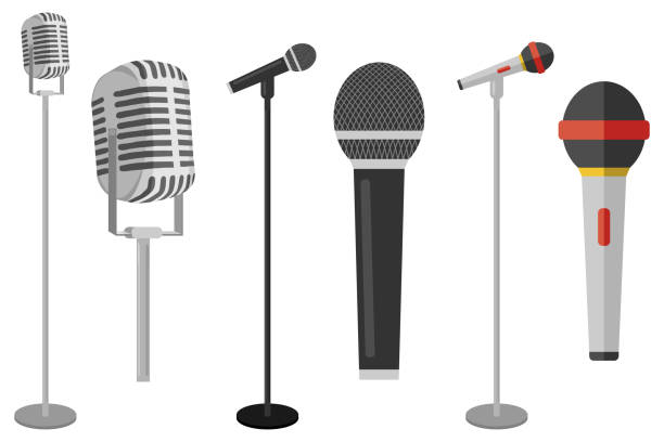 three microphones on counter. microphone with stand vector on white background. set of microphones on counter. - record analog audio stock illustrations