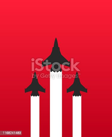 Vector illustration flat design of three military fighter jets with white trails on red background. Aircraft show vector illustration