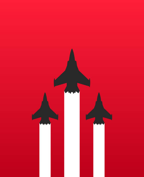 Three military fighter jets with white trails on red background. Aircraft show vector illustration Vector illustration flat design of three military fighter jets with white trails on red background. Aircraft show vector illustration fighter plane stock illustrations