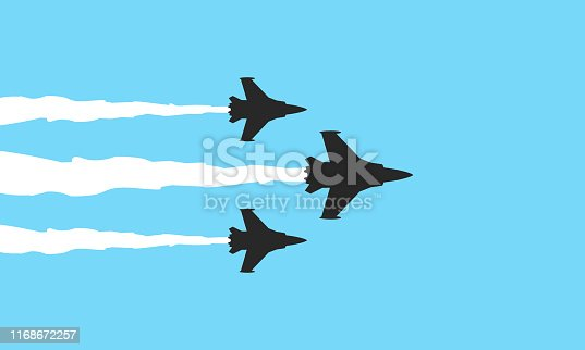 Vector illustration flat design of three military fighters symbols on blue background. Jets show vector illustration