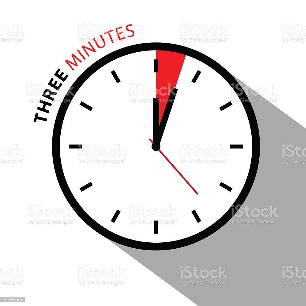 Three Minutes Clock vector art illustration