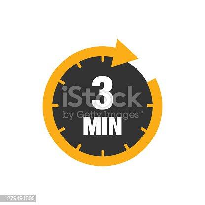 istock Three minutes icon isolated on white background. 1279491600