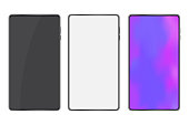 Three mobile phones mocap style. Vector image of a smartphone. Blank screen cellphone.