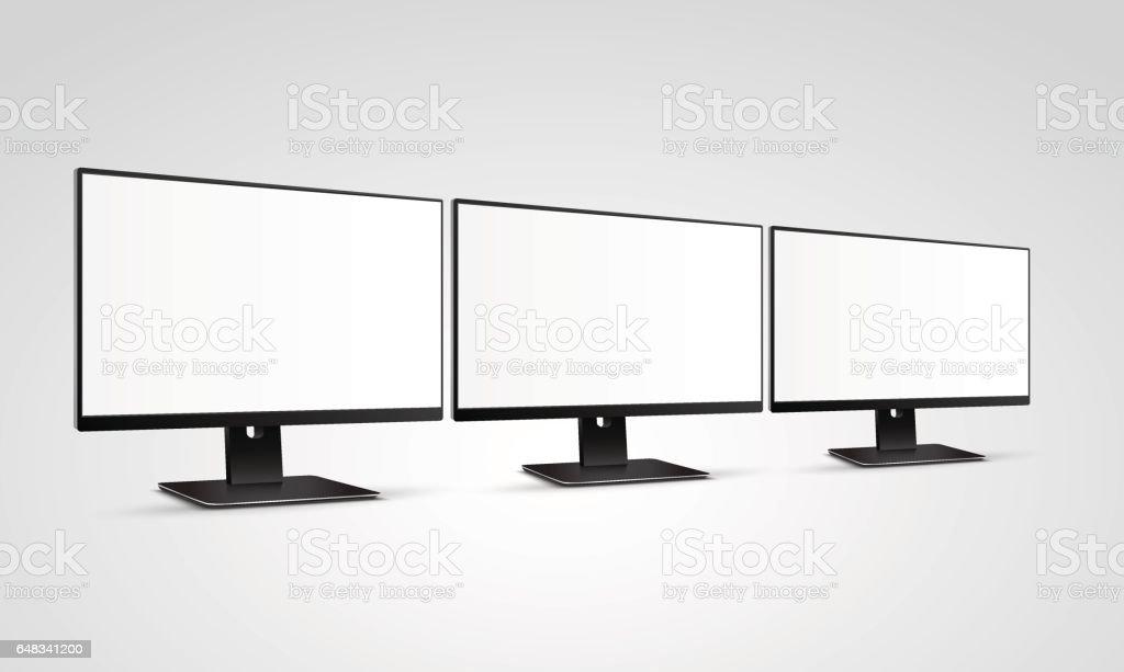 Trois maquette de moniteurs ordinateur moderne avec écran blanc blanc - Illustration vectorielle