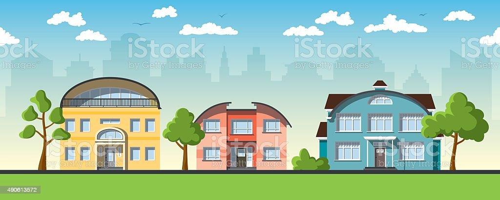 Drei Moderne Häuser Mit Barrel Dach Lizenzfreies Drei Moderne Häuser Mit  Barrel Dach Stock Vektor Art