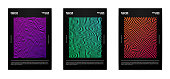 Set of modern abstract posters. Covers collection. Colorful bright stripes, vivid gradients. Vector, isolated, eps 10.