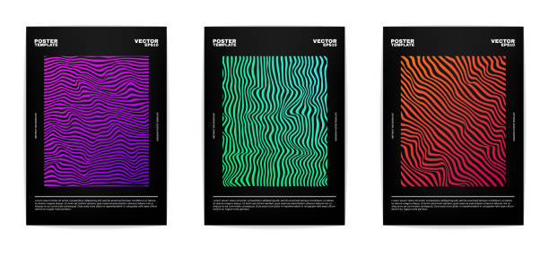 Three modern posters Set of modern abstract posters. Covers collection. Colorful bright stripes, vivid gradients. Vector, isolated, eps 10. electro music stock illustrations