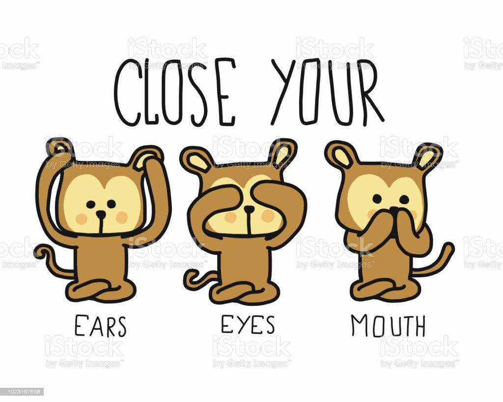 Drei Affen Schließen Ihre Ohren Augen Mund Cartoon Doodle Vektor ...