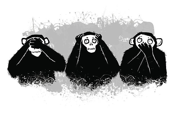 Drei Monkeys.see Nichts Böses, hören kein Übel, sprechen Sie kein Übel. Isolation – Vektorgrafik