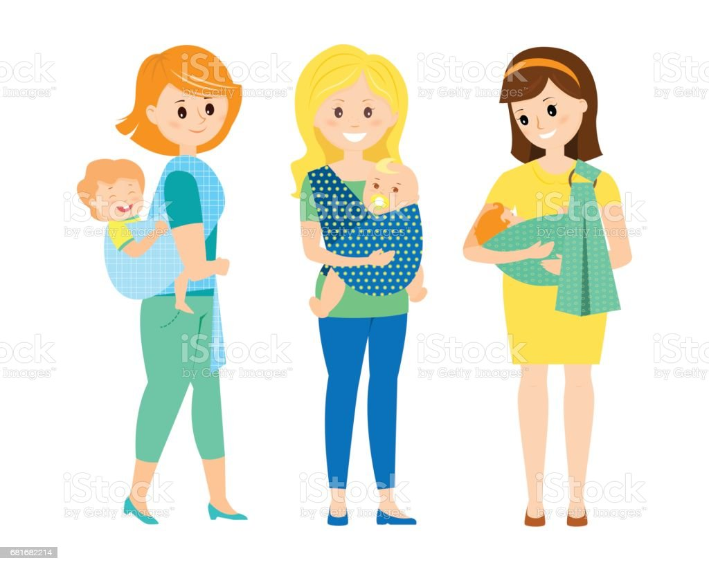Three mothers with children in slings vector art illustration