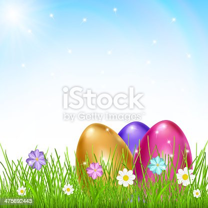 Three multicolored eggs in grass with flowers on sky background with sun and rainbow. Vector illustrations.